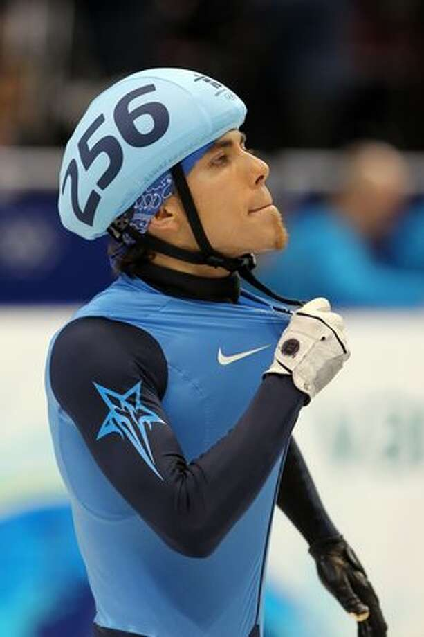 VANCOUVER, BC - FEBRUARY 13: Apolo Anton Ohno of United States reacts after competing in the semi-final of the men's 1500 m men's short track on day 2 of the Vancouver 2010 Winter Olympics at Pacific Coliseum on February 13, 2010 in Vancouver, Canada. Photo: Getty Images / Getty Images