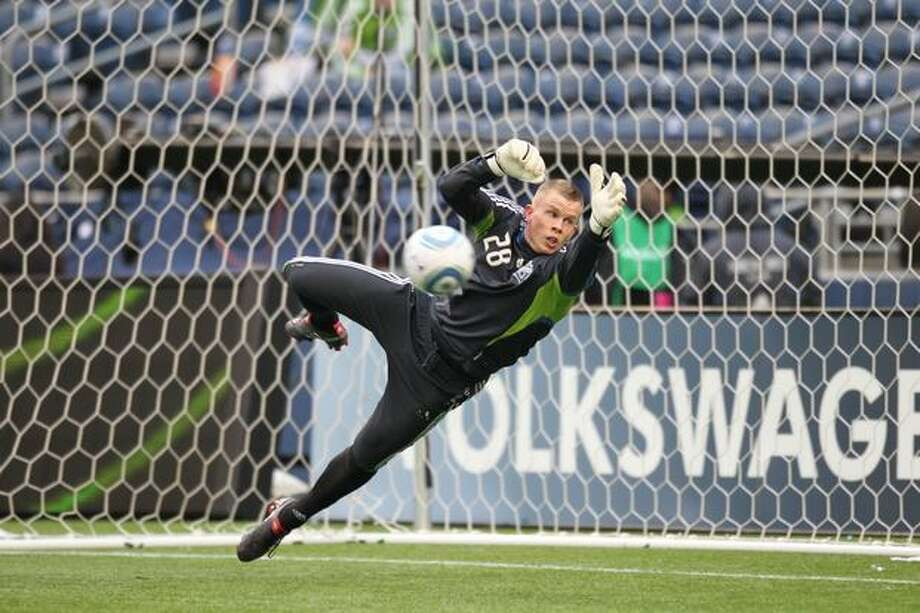 SEATTLE - APRIL 03: Goalkeeper Terry Boss #28 of the Seattle Sounders FC attempts to block a shot during warmups prior to the game against the New York Red Bulls on April 3, 2010 at Qwest Field in Seattle, Washington. Photo: Getty Images / Getty Images