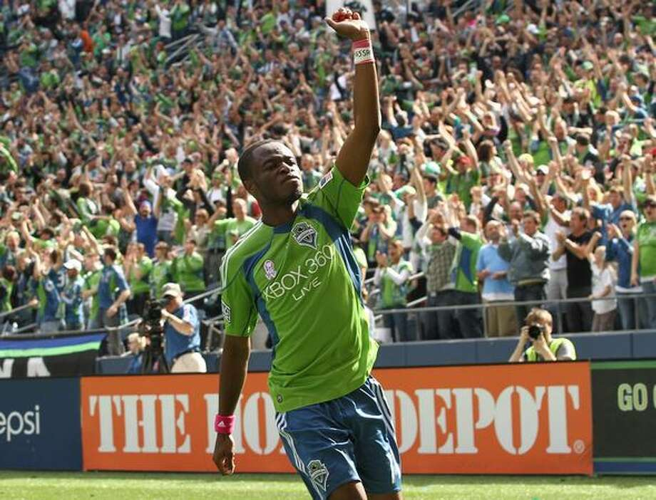 Steve Zakuani #11 of the Seattle Sounders FC celebrates after scoring a goal against Toronto FC on October 2, 2010 at Qwest Field in Seattle, Washington. The Sounders defeated Toronto 3-2. Photo: Getty Images / Getty Images