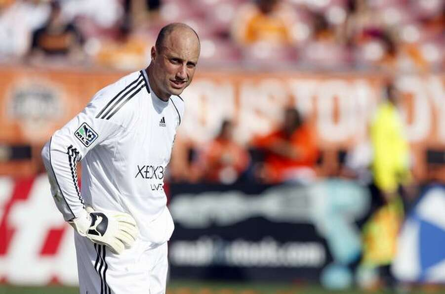 Seattle Sounders goalkeeper Kasey Keller looks on during a stoppage in play during play against the