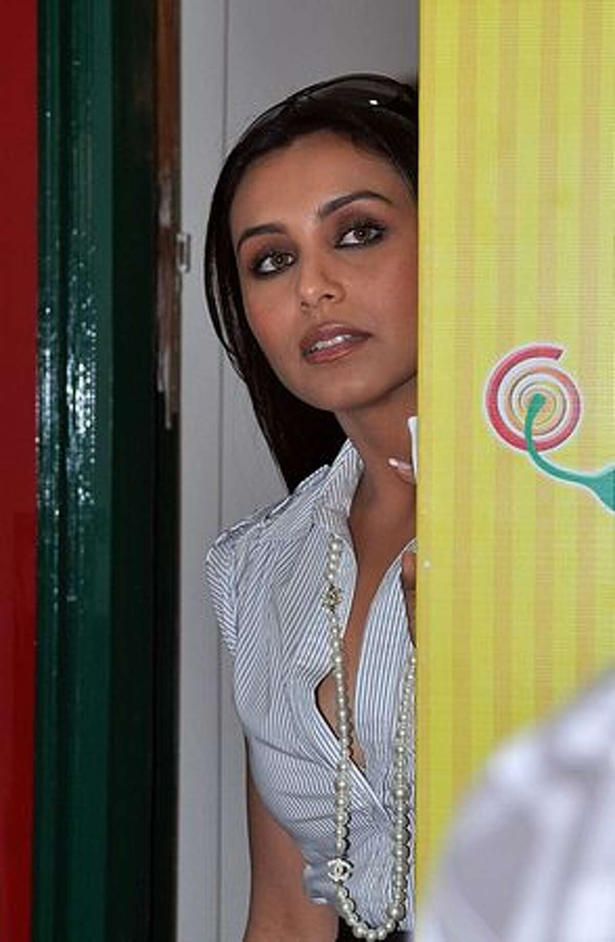 Indian Bollywood actress Rani Mukherjee arrives at the broadcasting station of 38.3 FM Radio to promote the new Hindi film