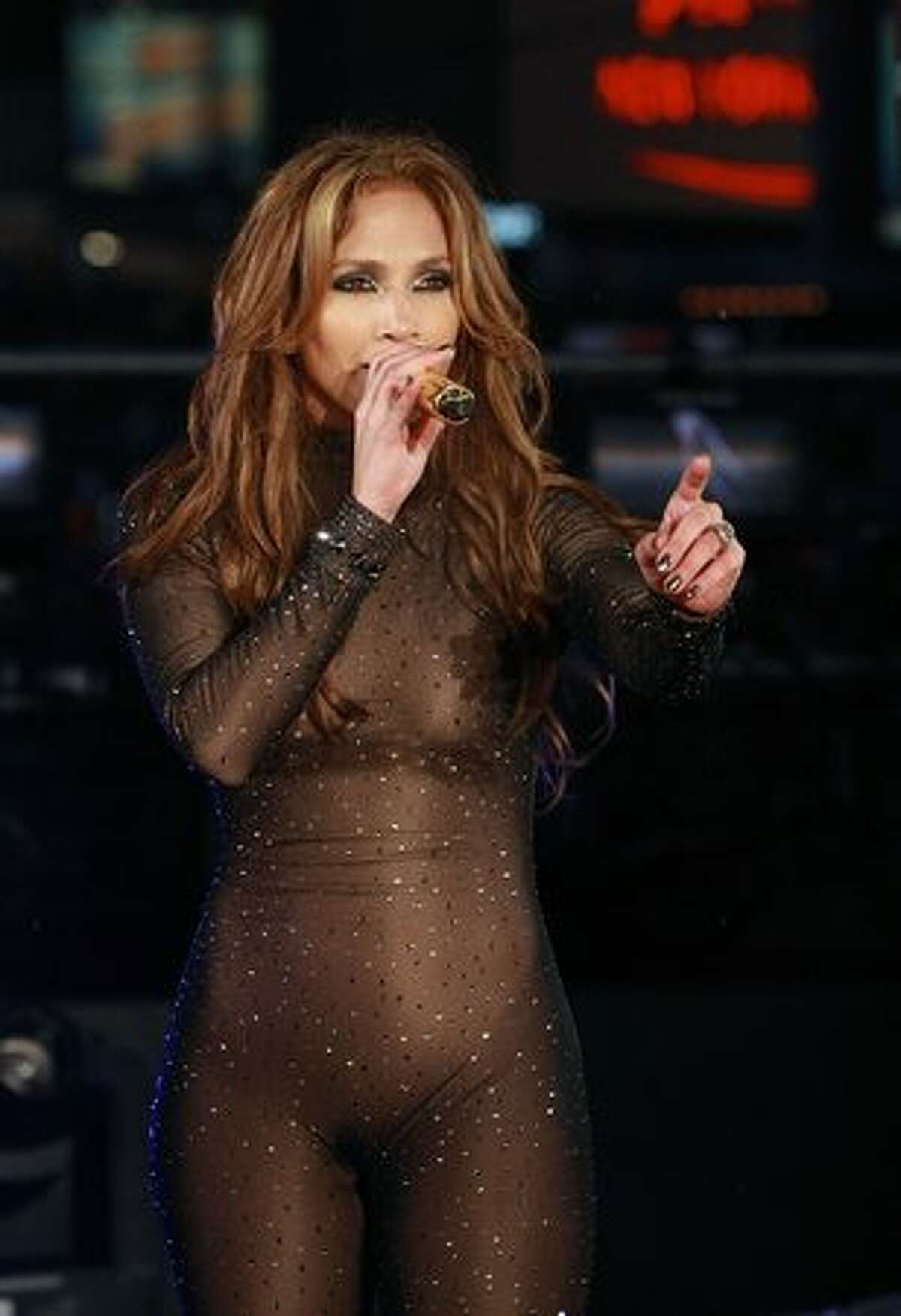 Actress and singer Jennifer Lopez performs in Times Square for News Year's Eve in New York City.
