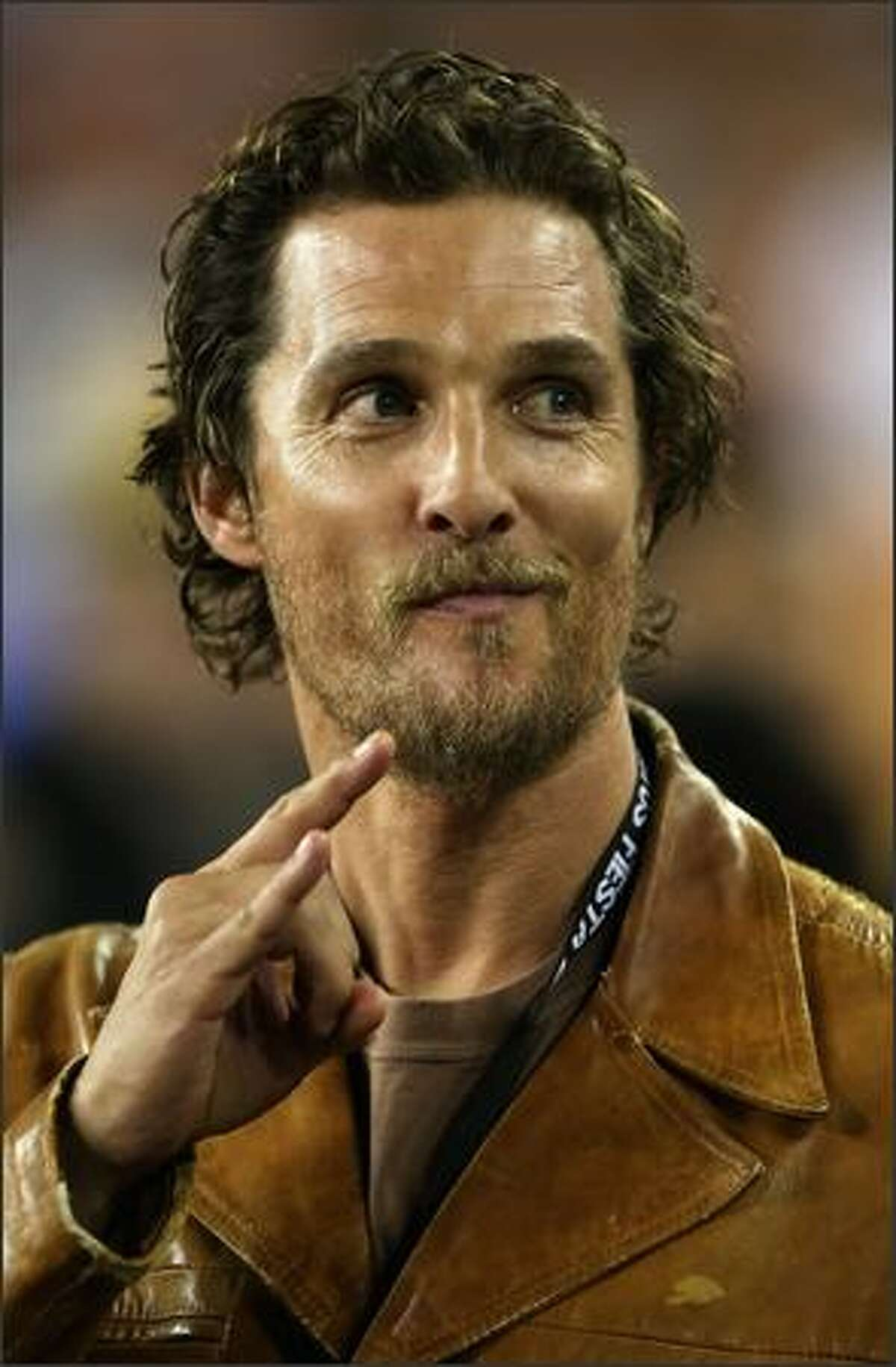 Actor Matthew McConaughey attends the Tostitos Fiesta Bowl Game between the Texas Longhorns and the Ohio State Buckeyes at University of Phoenix Stadium in Glendale, Arizona.