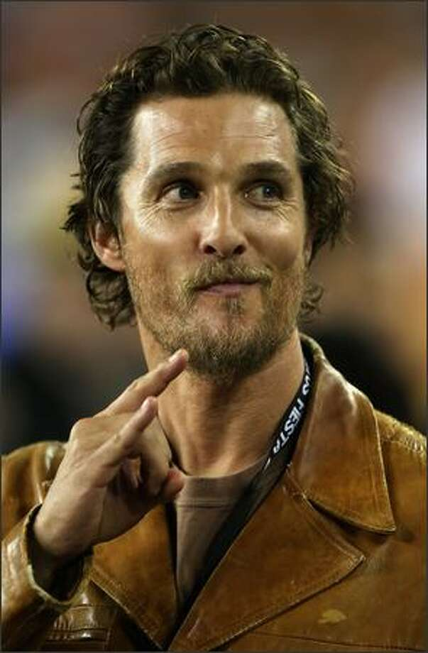 Actor Matthew McConaughey attends the Tostitos Fiesta Bowl Game between the Texas Longhorns and the Ohio State Buckeyes at University of Phoenix Stadium in Glendale, Arizona. Photo: Getty Images / Getty Images