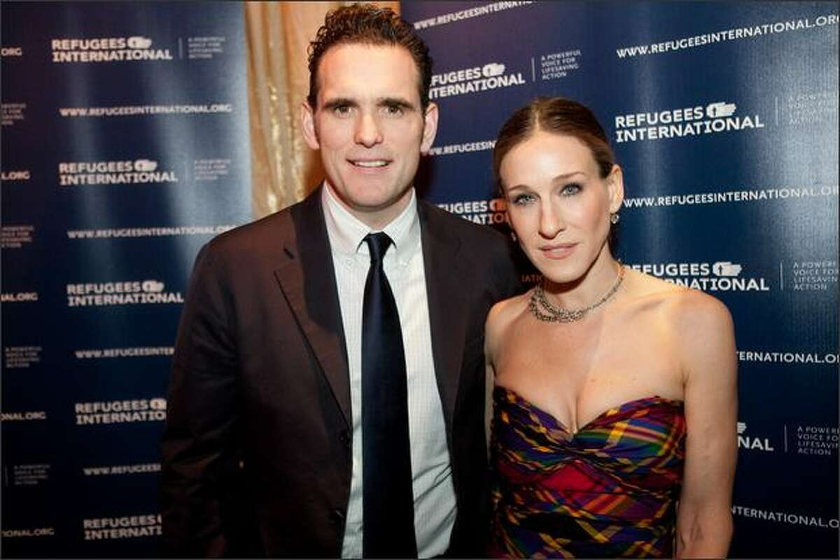 """Actress Sarah Jessica Parker and actor Matt Dillon appear at a performance of the play """"Betrayed"""" in Washington, DC. """"Betrayed,"""" directed by Sarah Jessica Parker's brother Pippin Parker, follows the lives of three young Iraqi translators as they risk their lives for Americans in Iraq. The performance was hosted by the humanitarian organization Refugees International."""