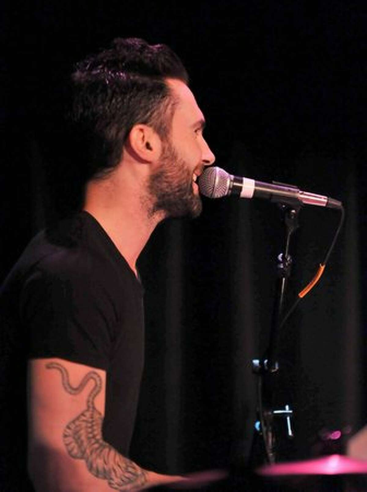 Maroon 5 singer Adam Levine performs at A Night to Benefit Haiti at The Roosevelt Hotel in Hollywood.