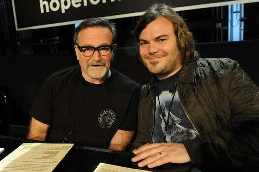 Actors Robin Williams, left, and Jack Black at the Hope For Haiti Now: A Global Benefit For Earthquake Relief telethon in Los Angeles. Photo: Getty Images / Getty Images