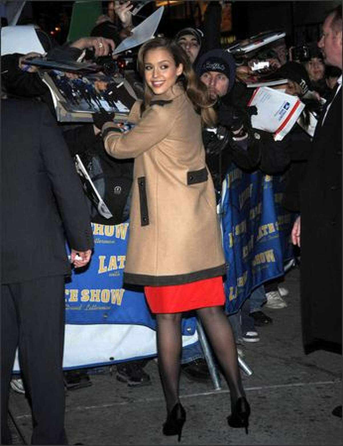 Actress Jessica Alba leaves 'The Late Show With David Letterman' at the Ed Sullivan Theater in New York City.