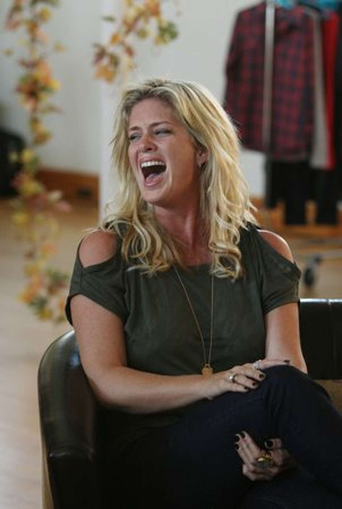 Actress Rachel Hunter speaks about her collection during the Warehouse 2011 fashion preview at Hopetoun Alpha in Auckland, New Zealand.