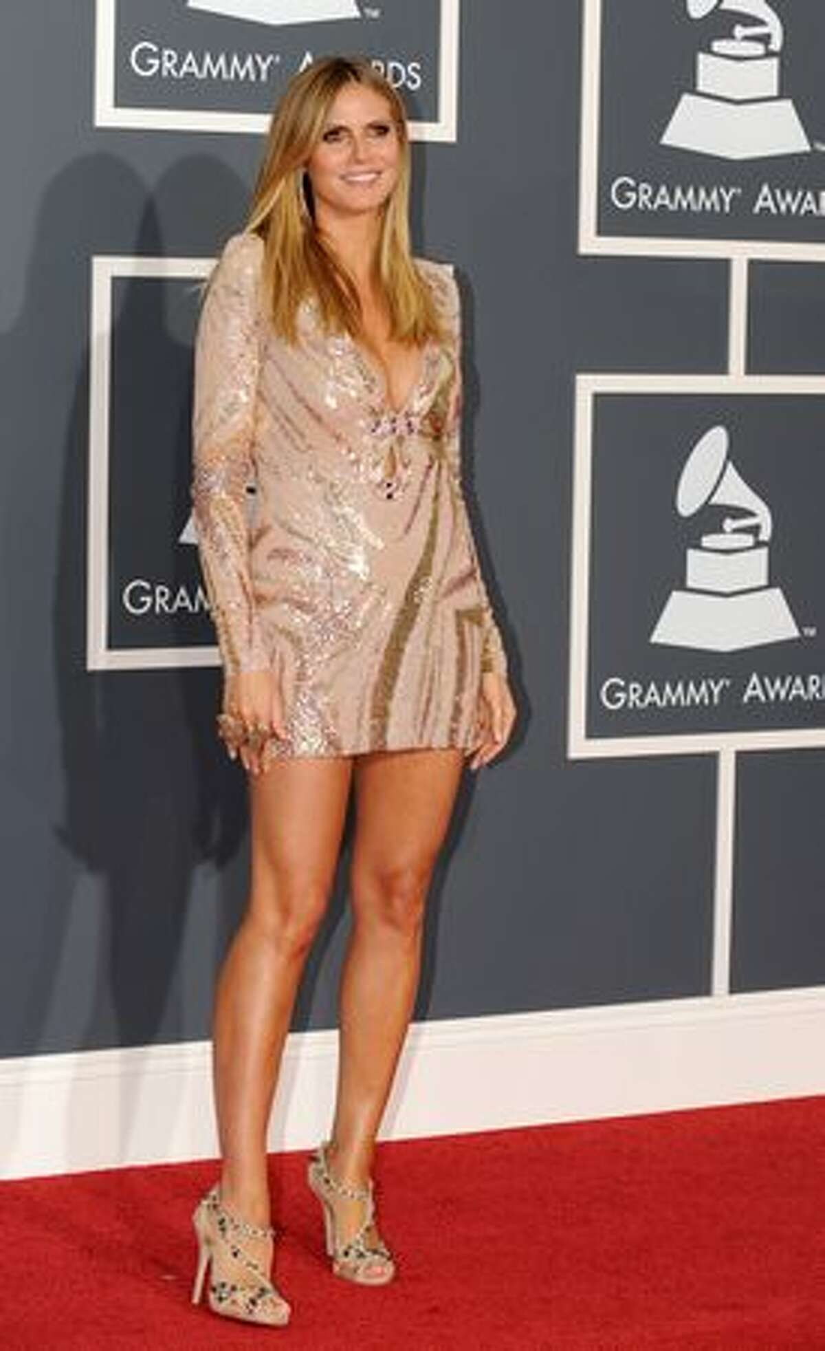 Top model Heidi Klum arrives on the red carpet at the 52nd Grammy Awards in Los Angeles, California on January 31.