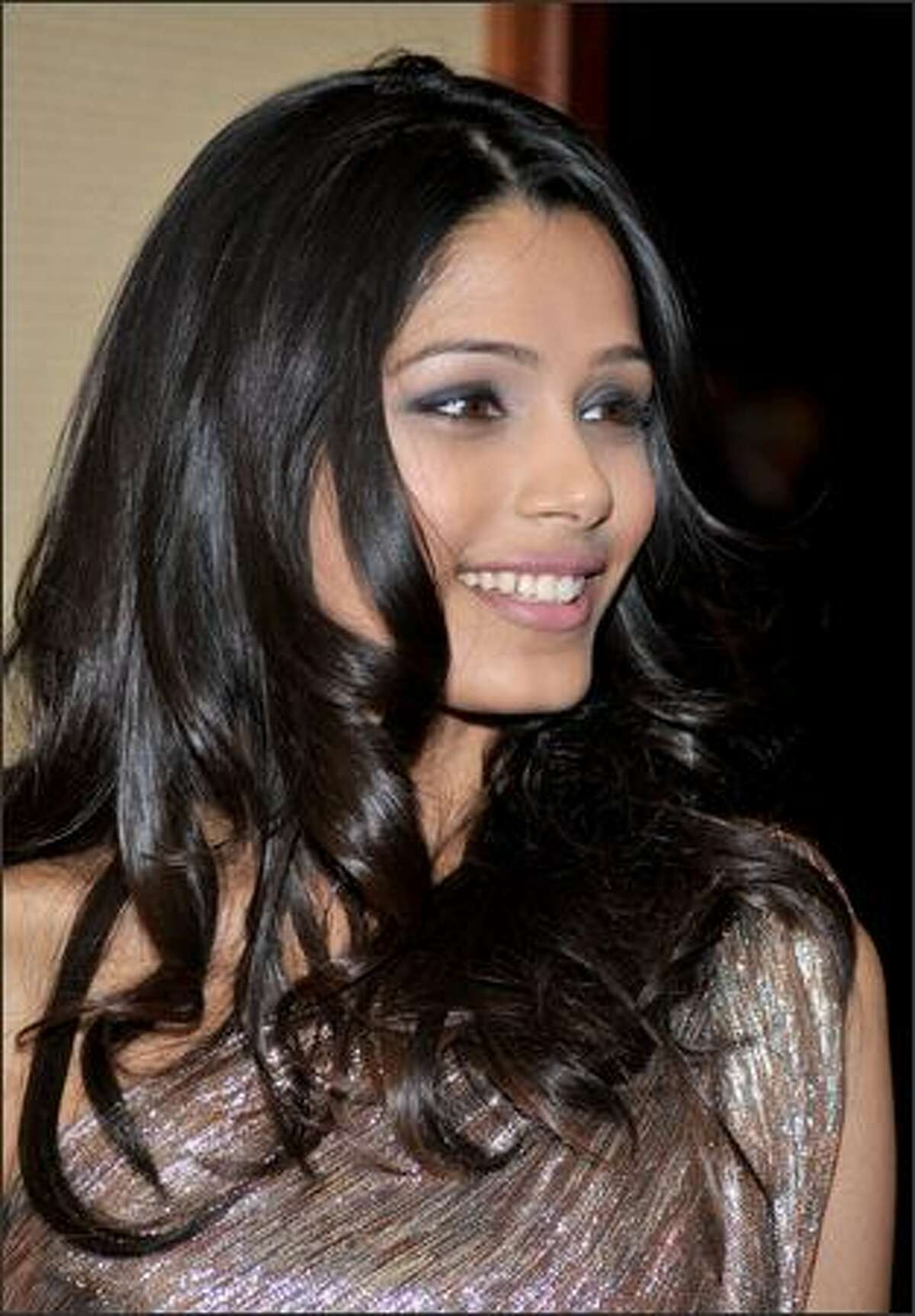 Actress Freida Pinto arrives at the 61st Annual Directors Guild of America Awards at the Hyatt Regency Century Plaza in Los Angeles, California.