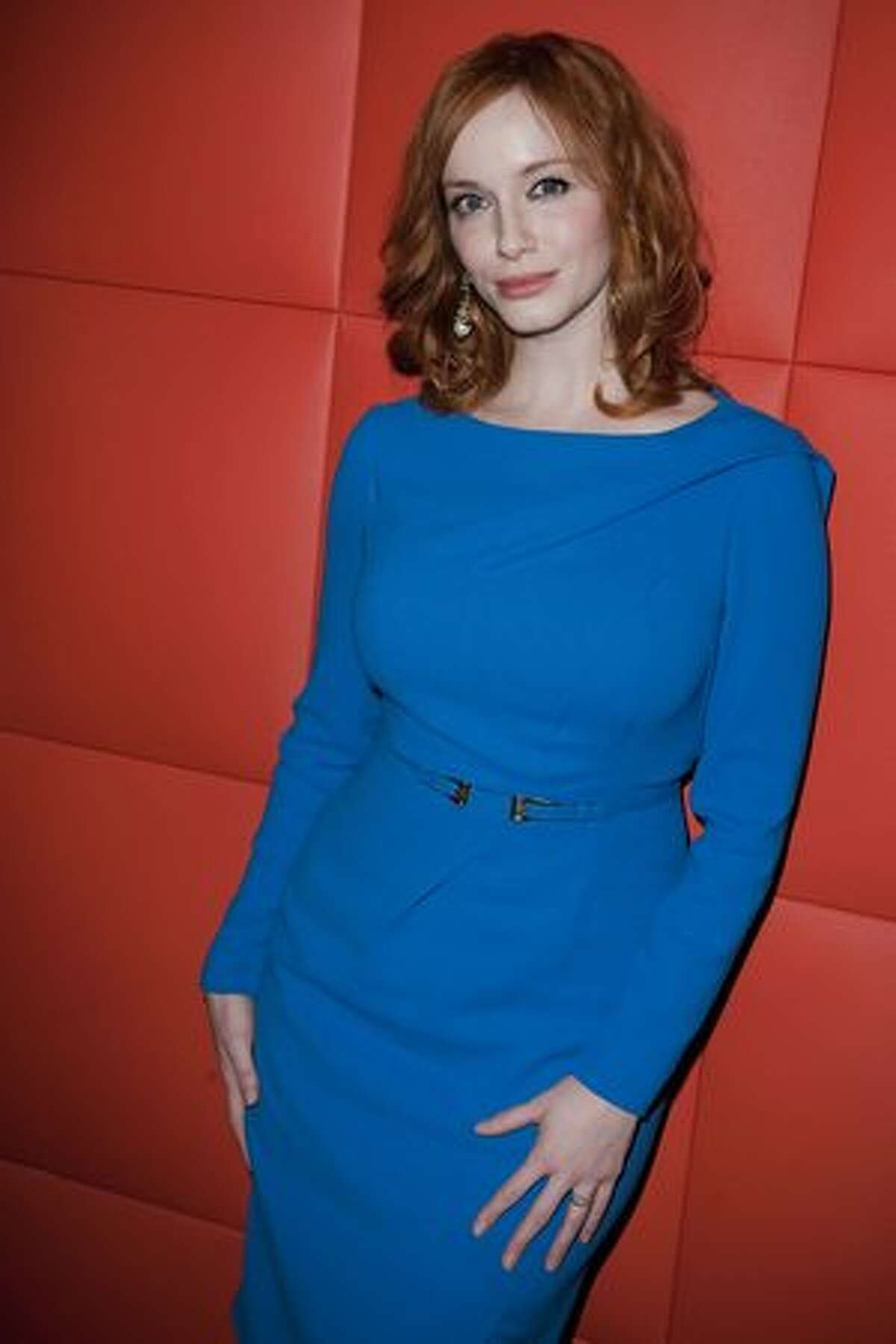 PARIS, FRANCE - Actor Christina Hendricks poses during the AMC - Mad Men Gala Event at Hotel Royal Monceau Raffle on Tuesday in Paris, France.