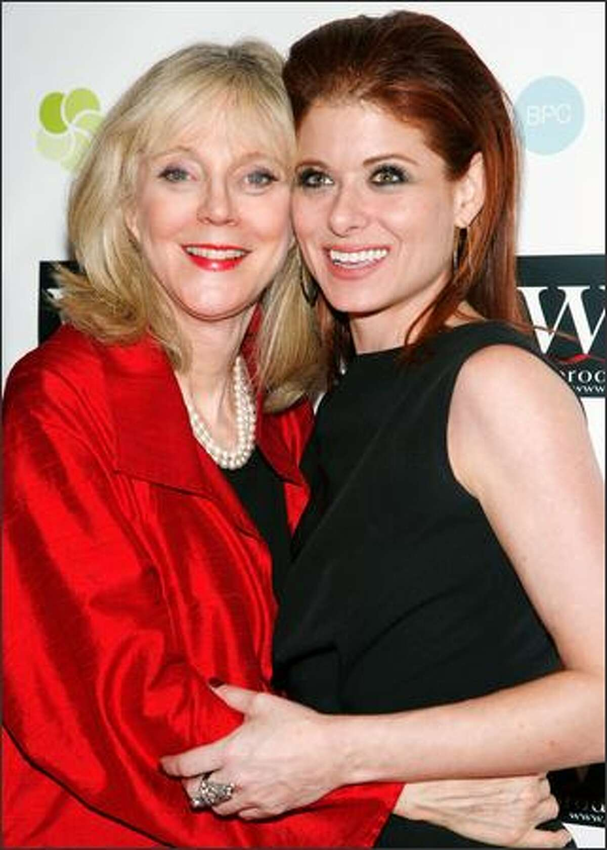 Actresses Blythe Danner (L) and Debra Messing (R) attend the LOVE benefit to support WET's 10th season at the Angel Orensanz Foundation in New York City.