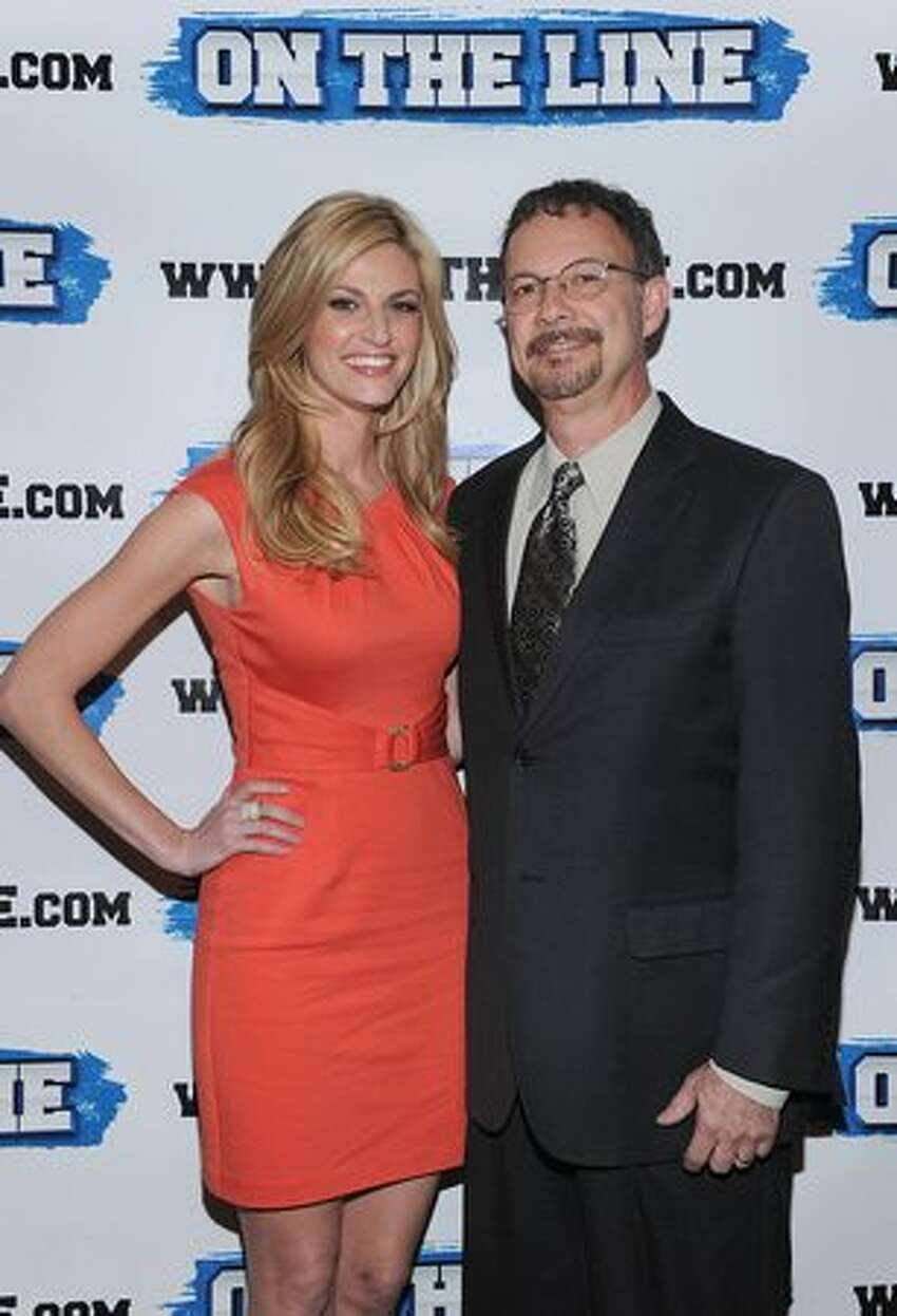 NEW YORK, NY - Erin Andrews and her father Steve Andrews who is a prostate cancer survivor attend the On The Line prostate cancer initiative campaign event at The Millennium Broadway Hotel on Wednesday in New York City. (Photo by Dimitrios Kambouris/Getty Images)