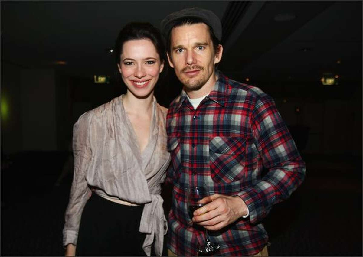 Actress Rebecca Hall and actor Ethan Hawke posed for a photo during The Cherry Orchard after party at Limelight in Auckland, New Zealand.
