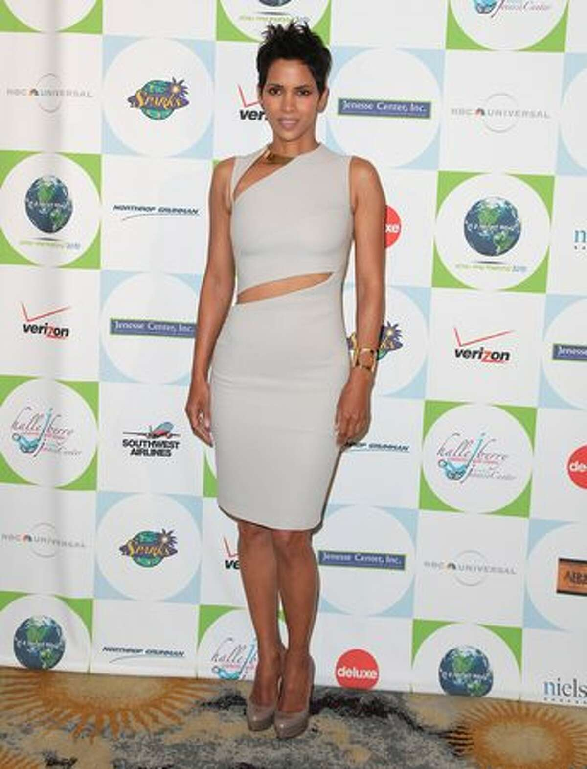 Actress Halle Berry arrives to Jenesse Center's 30th Anniversary Silver Rose Weekend at the Beverly Hills Hotel on Sunday in Beverly Hills, California.