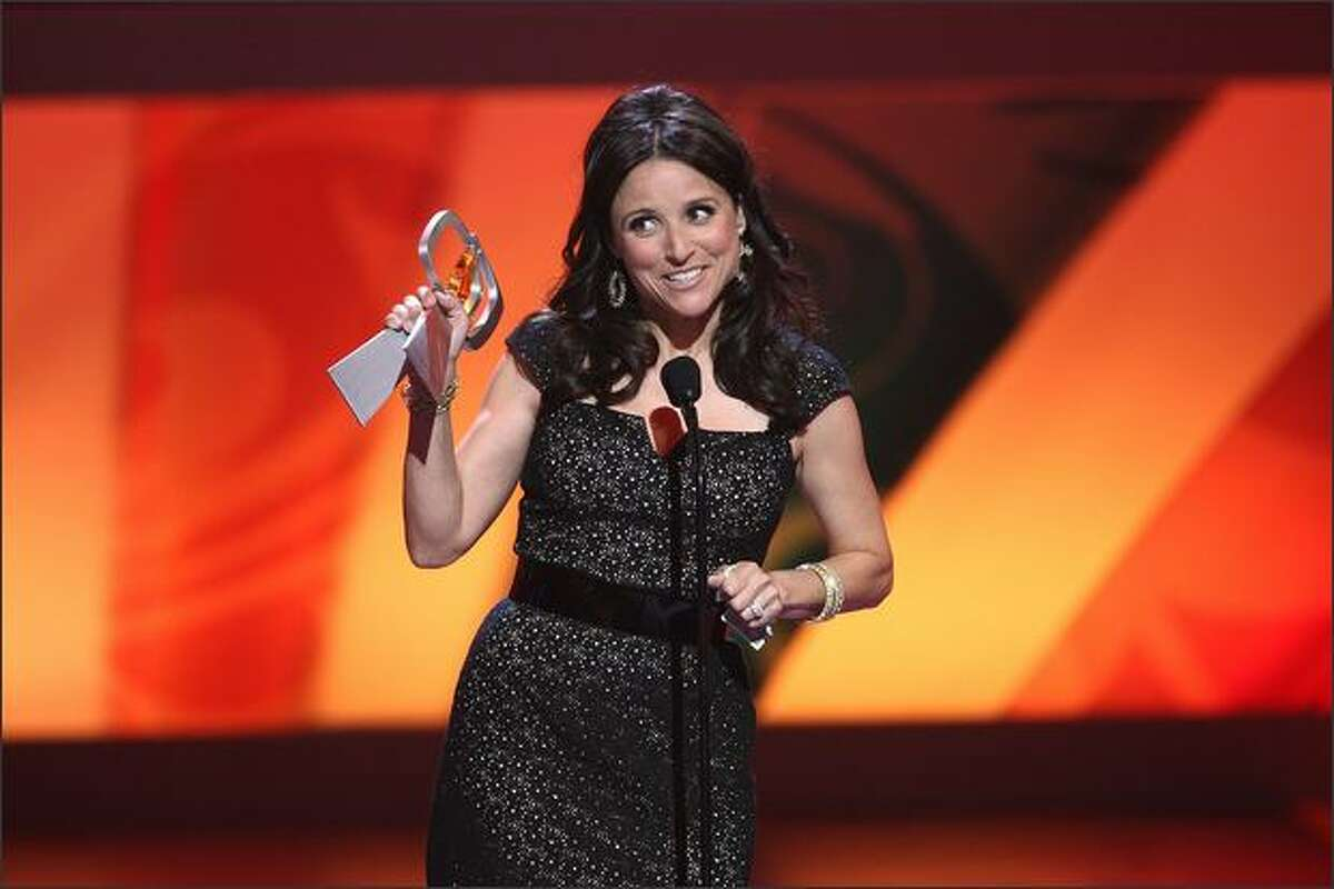 Actress Julia Louis-Dreyfus speaks onstage the 7th Annual TV Land Awards held at Gibson Amphitheatre in Unversal City, California.