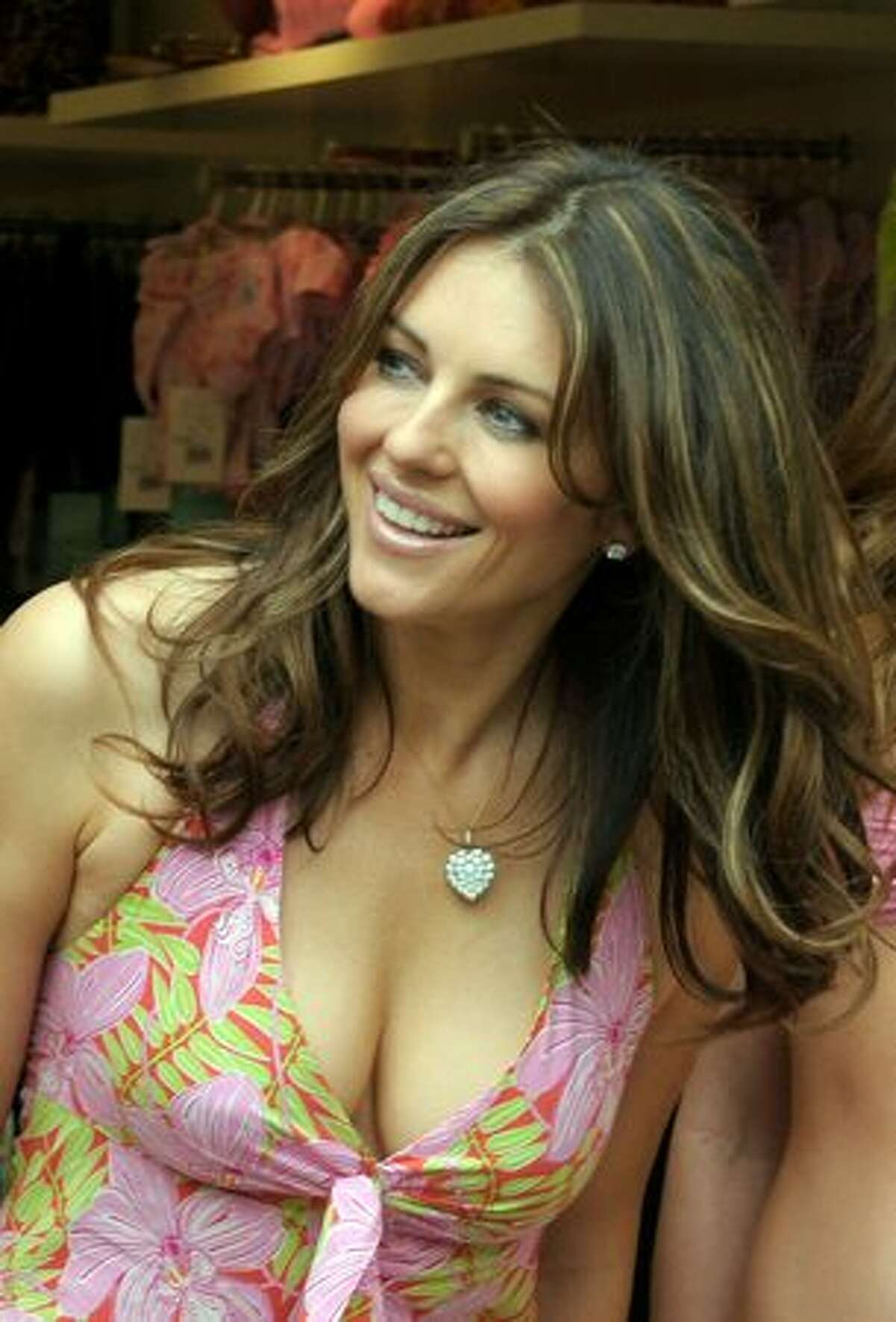 Actress Elizabeth Hurley attends the opening of her first store in Spain, 'Elizabeth Hurley Beach', at La Rocca Village Outlet on Tuesday in Barcelona, Spain.