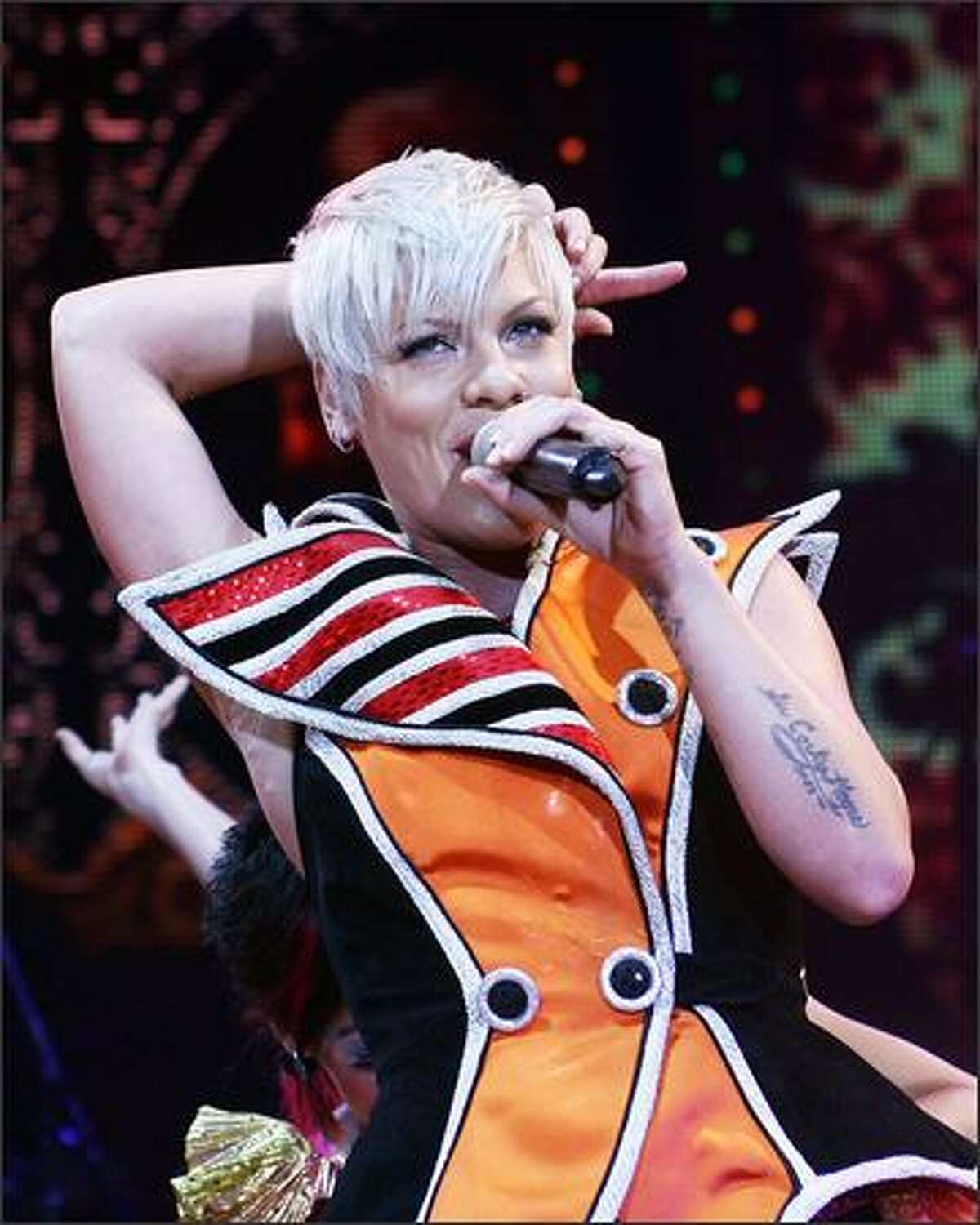 Singer Pink performs on stage at the Burswood Dome in Perth, Australia.