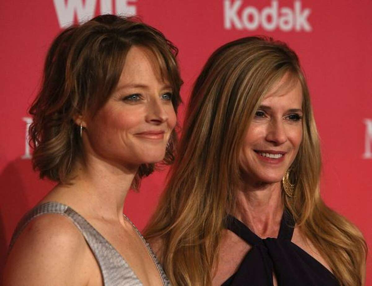 Actresses (L-R) Jodie Foster and Holly Hunter arrive at the Women In Film 2009 Crystal And Lucy Awards at the Hyatt Regency Century Plaza Hotel on June 12 in Century City, Calif.