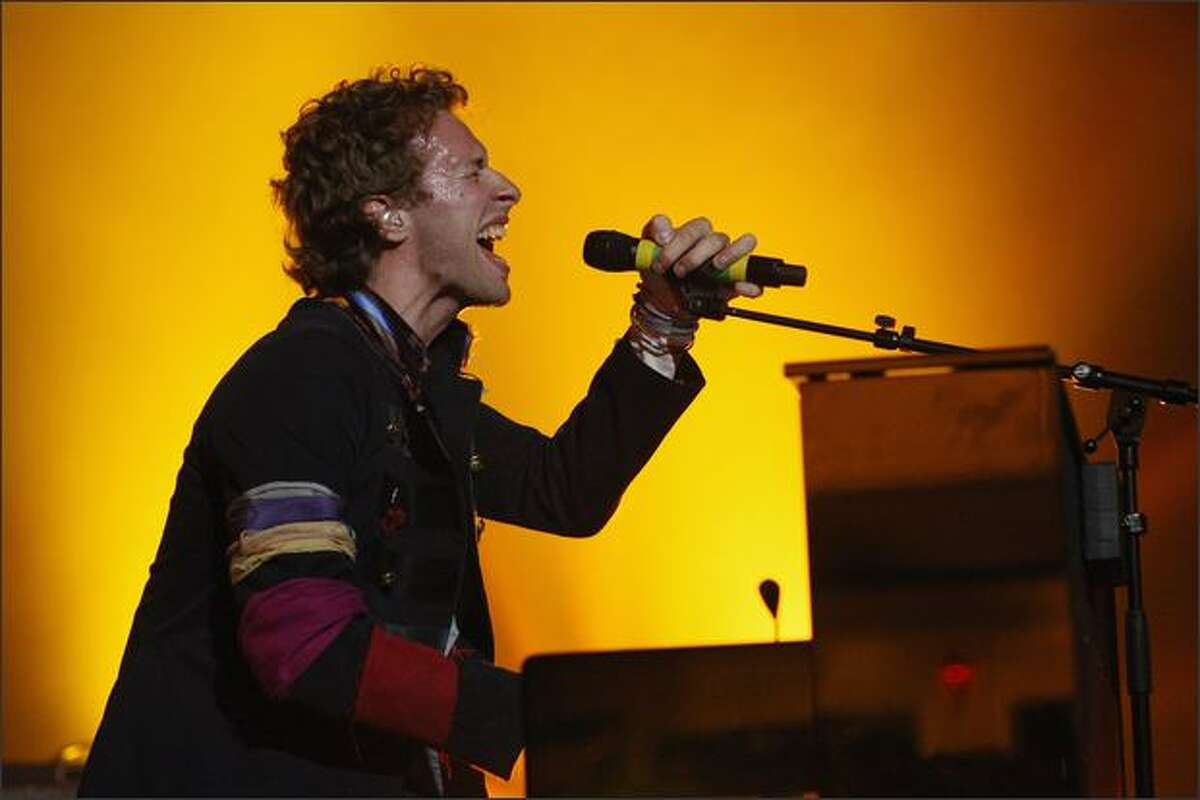 Chris Martin of Coldplay performs live on stage at Carling Brixton Academy in London, England.