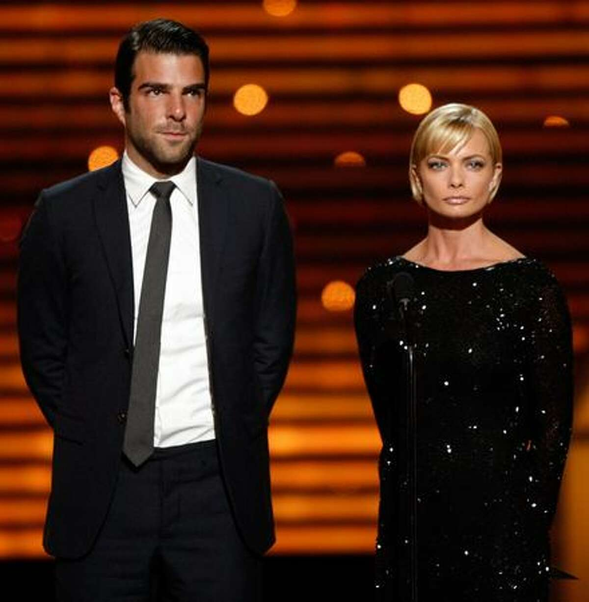 Actor Zachary Quinto (L) and actress Jaime Pressly speak onstage during the 2009 ESPY Awards held at Nokia Theatre LA Live in Los Angeles, California.