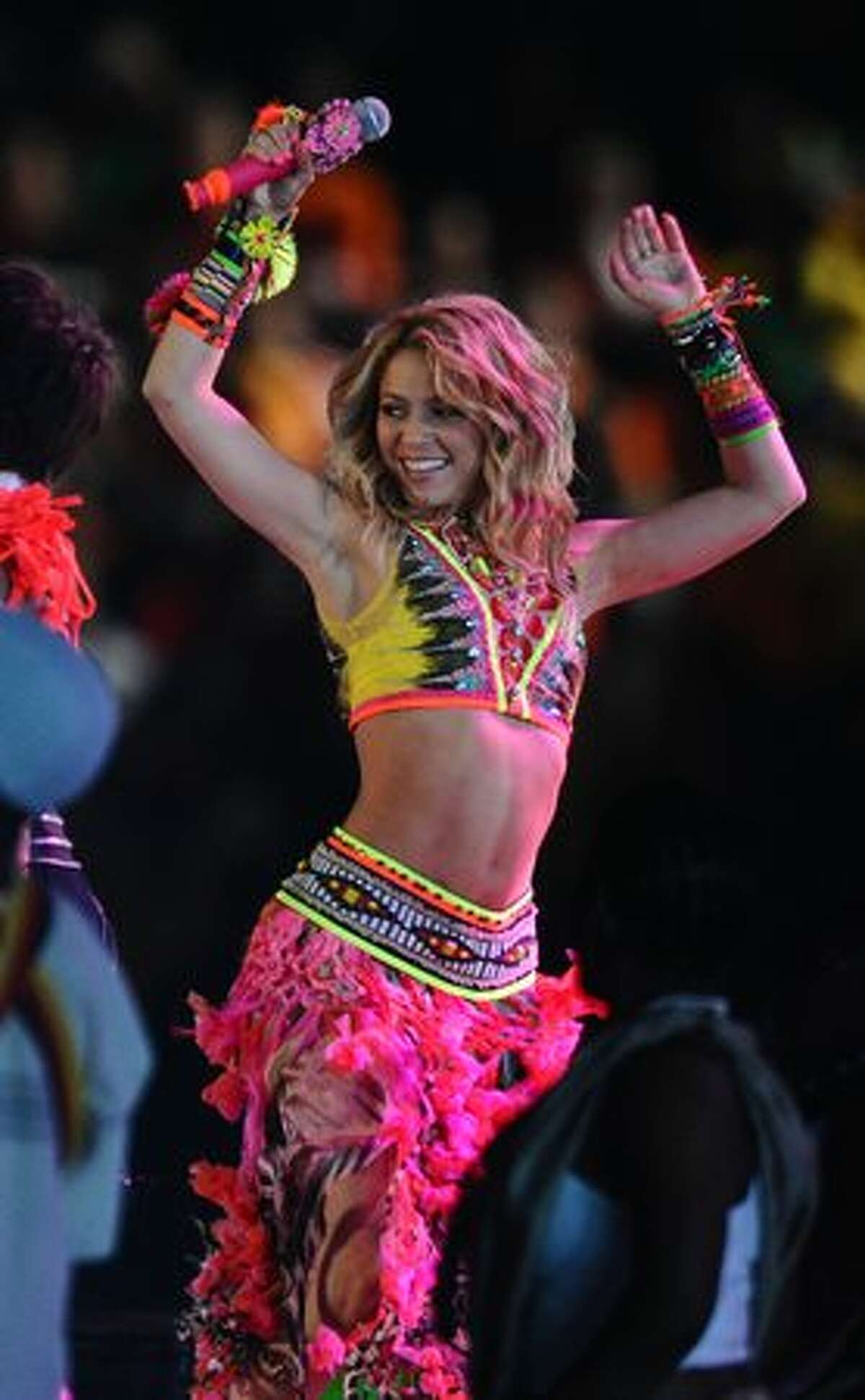 Colombian singer Shakira performs during the closing ceremony of the 2010 FIFA football World Cup.