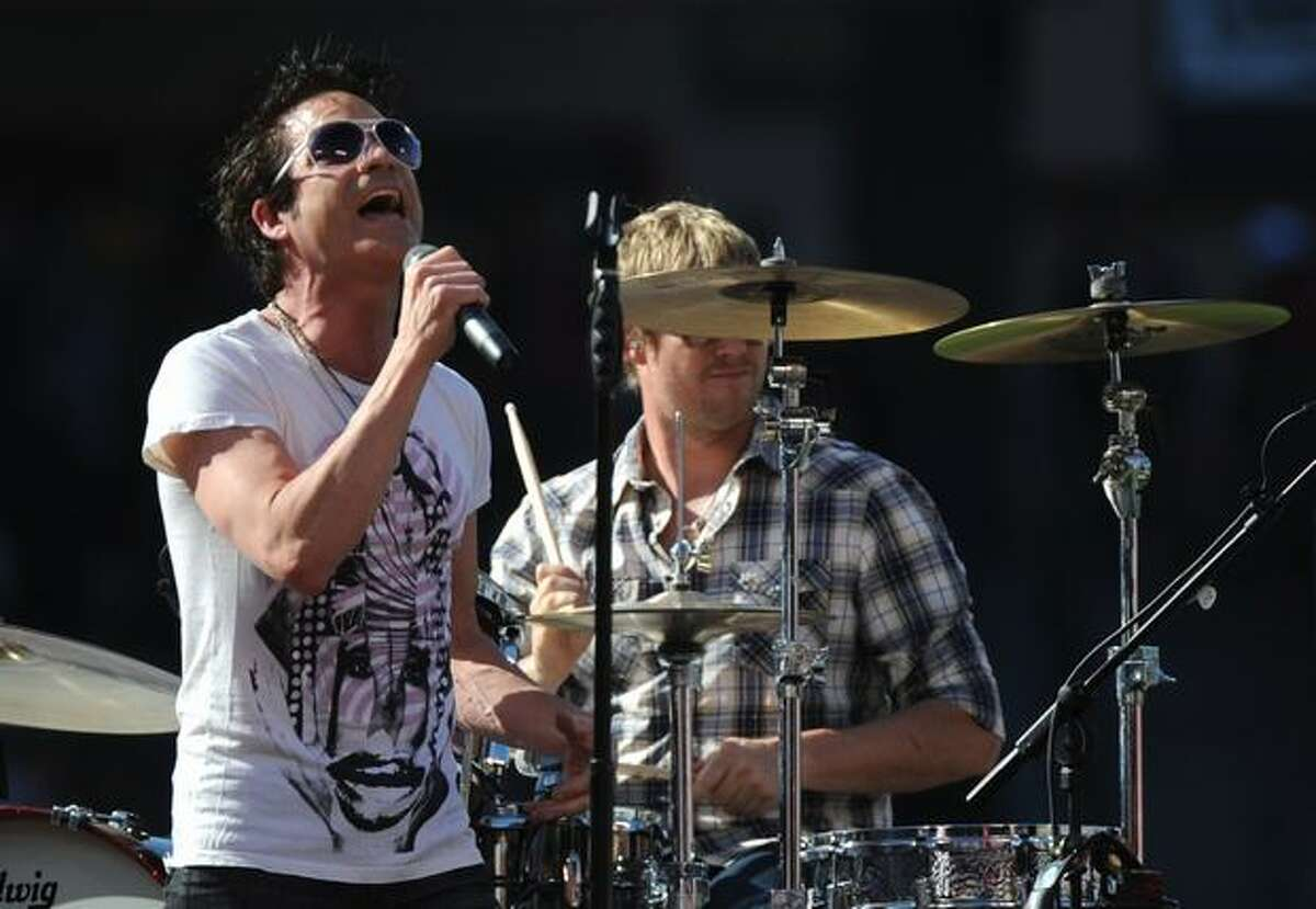 Singer Patrick Monahan of Train perfroms during the 2010 State Farm Home Run Derby during All-Star Weekend at Angel Stadium.