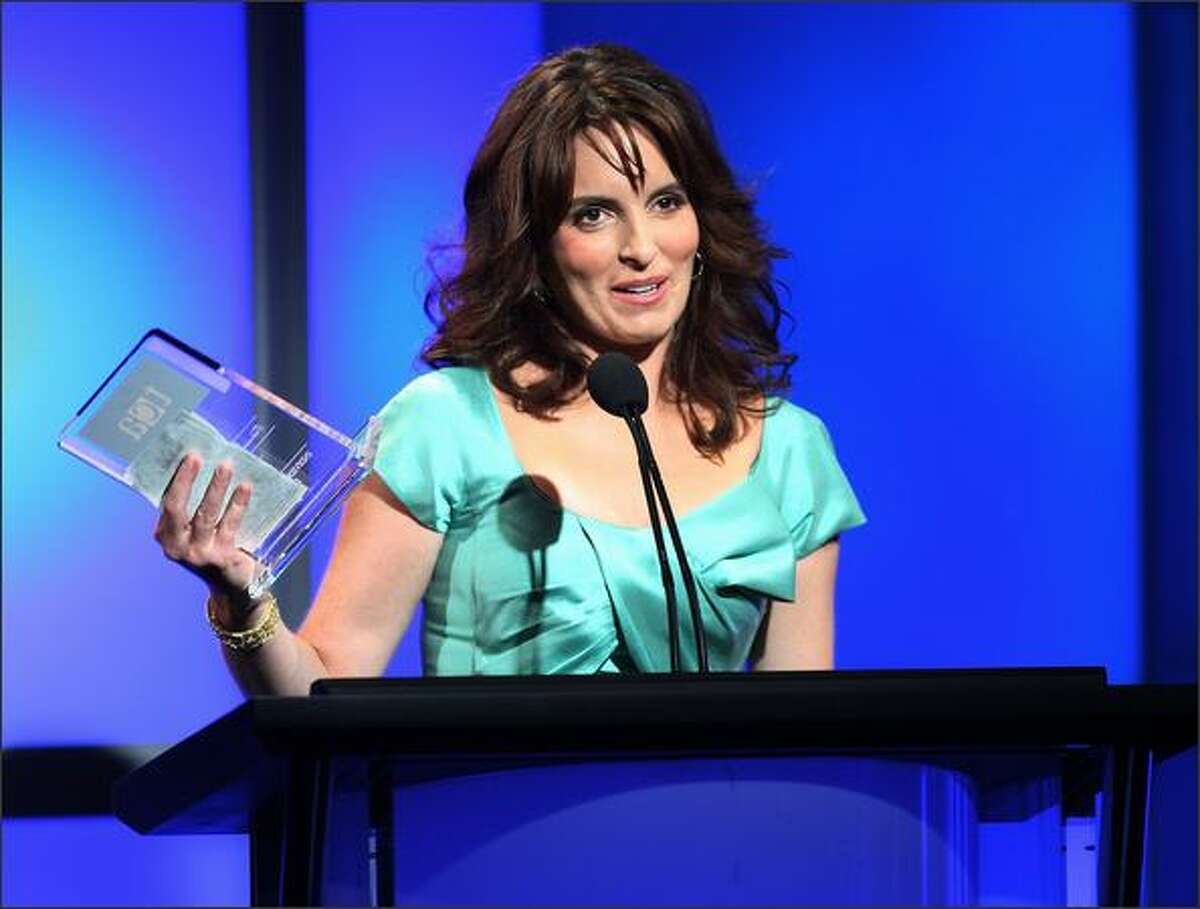 Actress and writer Tina Fey speaks during the 24th Annual Television Critics Association Awards Show at the Beverly Hilton Hotel in Beverly Hills, California.