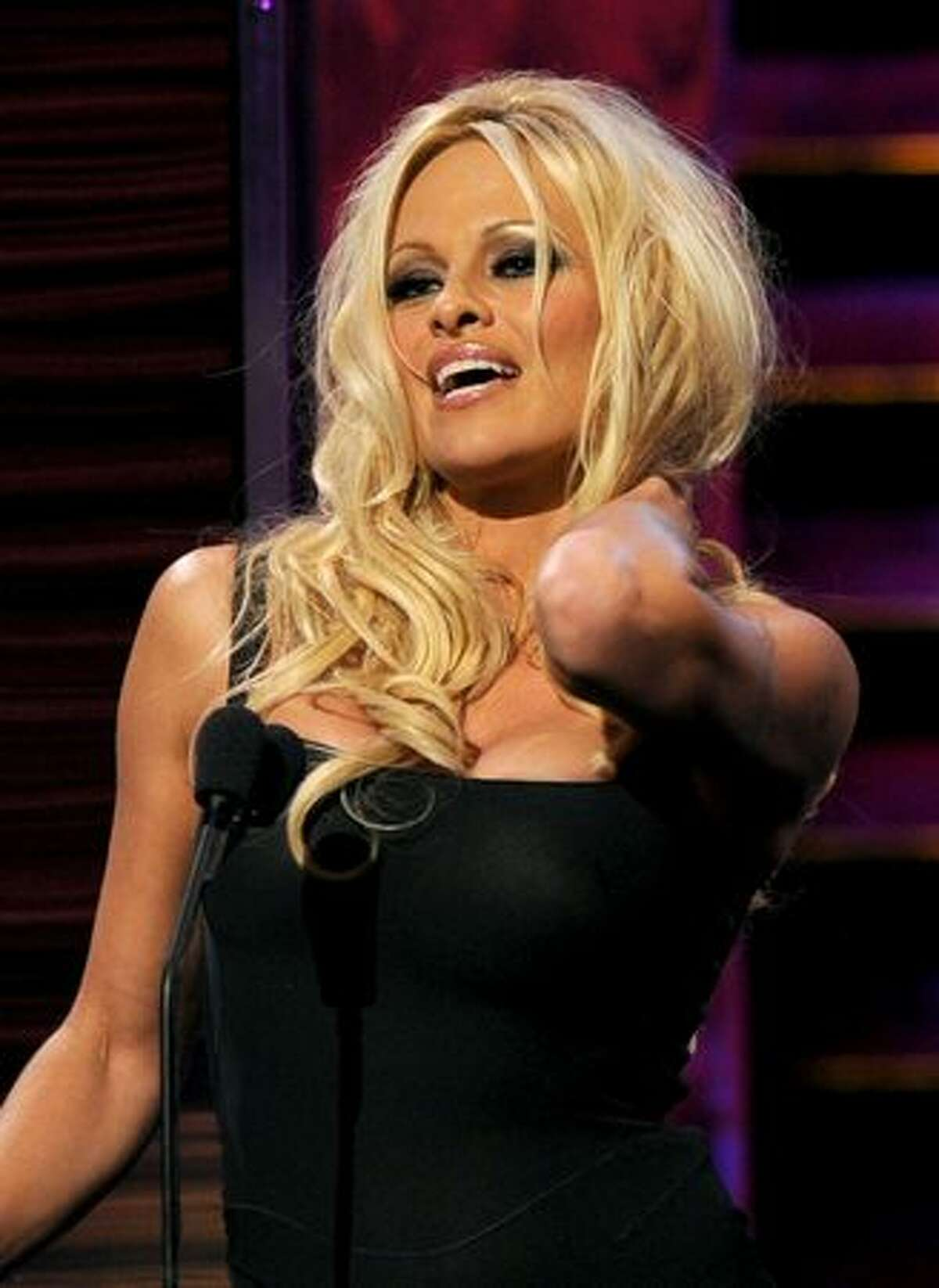 Actress Pamela Anderson speaks onstage at the Comedy Central Roast of David Hasselhoff held at Sony Pictures Studios in Culver City, California.