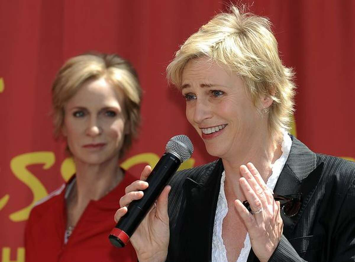 Actress Jane Lynch attends the unveiling of her wax figure at Madame Tussauds Hollywood in Hollywood, California.