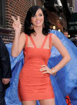 "Singer Katy Perry visits ""Late Show With David Letterman"" at the Ed Sullivan Theater in New York City. Photo: Getty Images / Getty Images"
