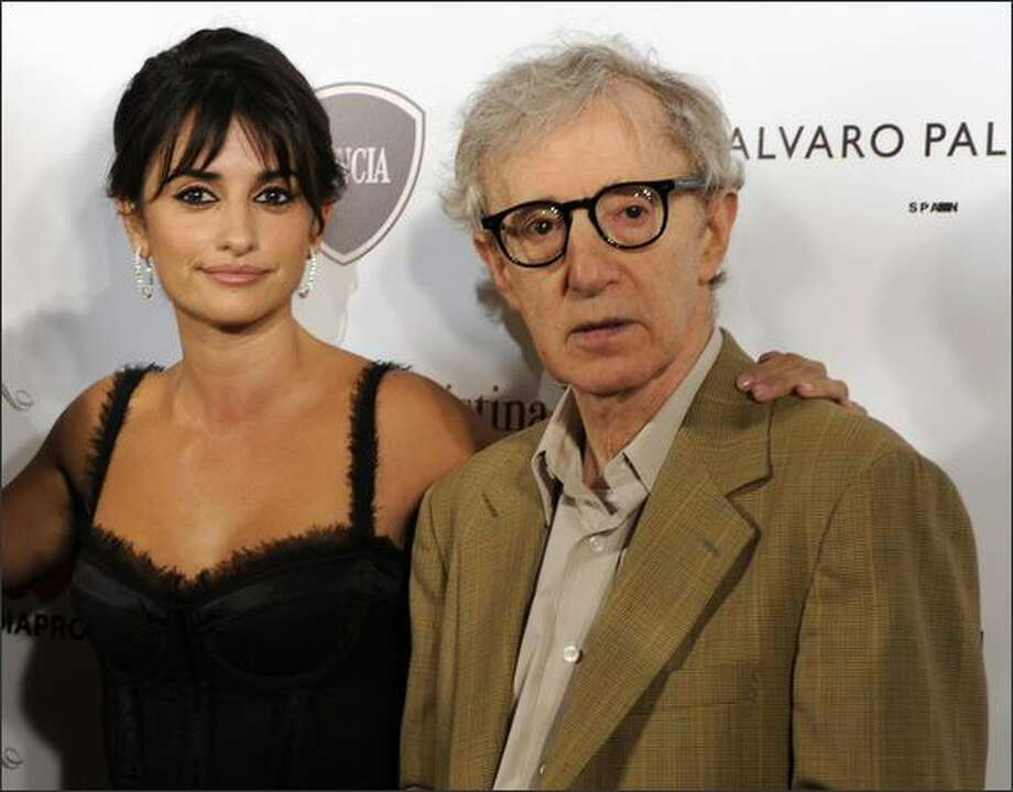 "Director Woody Allen and Spanish actress Penelope Cruz pose for photographers before the screening of their film ""Vicky Cristina Barcelona"" at L""Auditori in Barcelona. Photo: Getty Images / Getty Images"