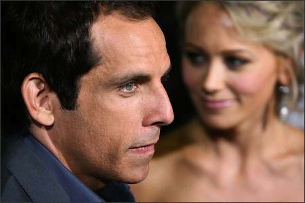 Actor Ben Stiller arrives with his wife, actress Christine Taylor for the premiere of