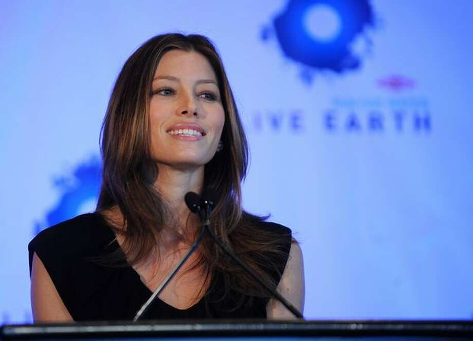 Actress Jessica Biel speaks at the Dow Live Earth Run For Water press conference in New York. Live Earth announced plans to implement the largest worldwide water initiative on record to help combat the global water crisis. Photo: Getty Images / Getty Images