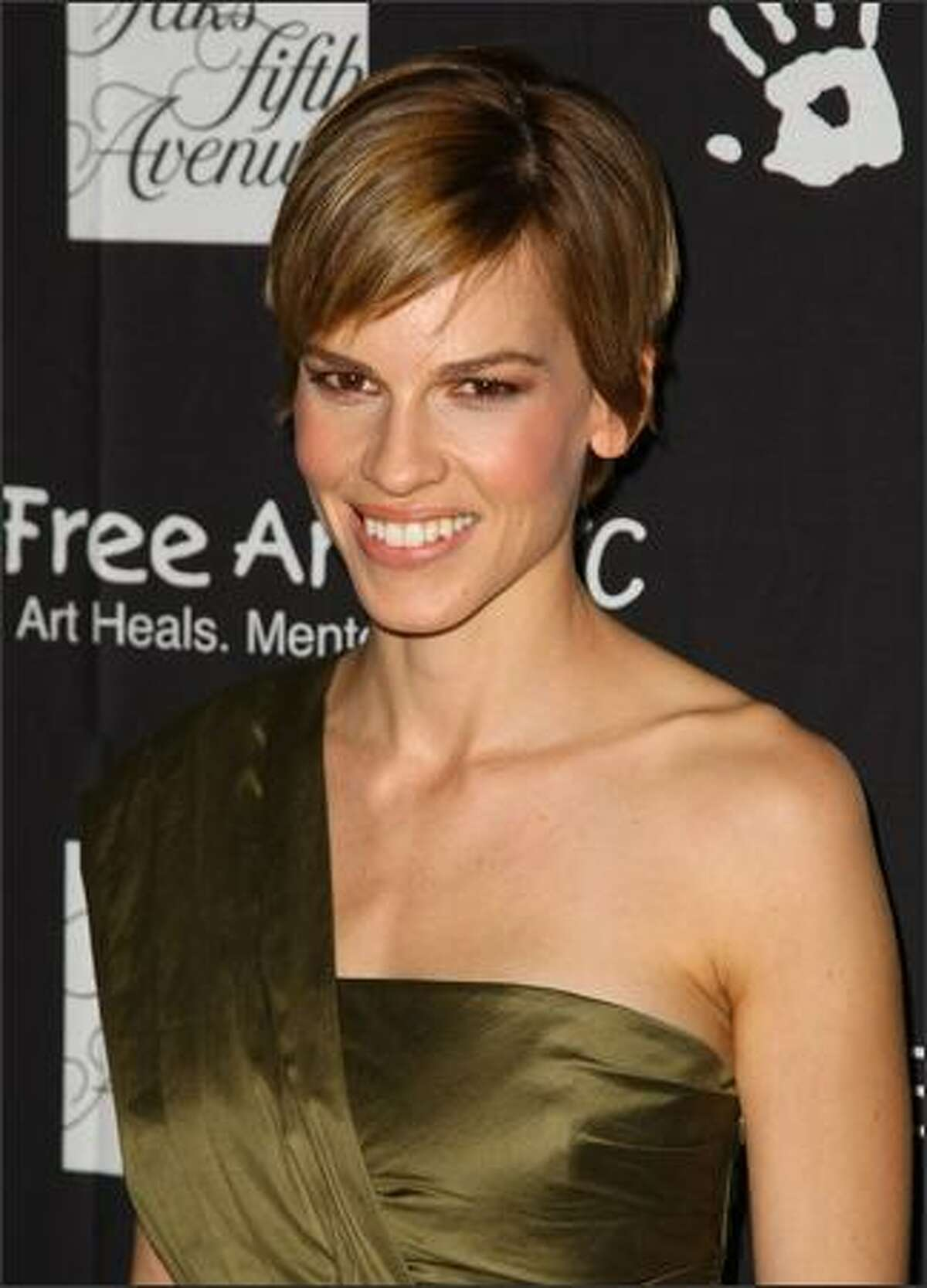 Actress Hilary Swank attends a celebration honoring Damiano Biella, the creative director of Escada, benefiting Free Arts NYC at Saks Fifth Avenue in New York City.