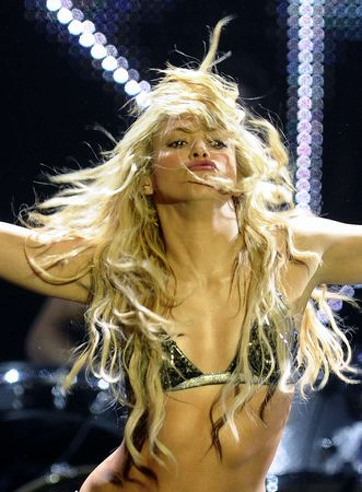 Colombian singer Shakira performs during the 2010 European MTV Awards at the Caja Magica in Madrid.