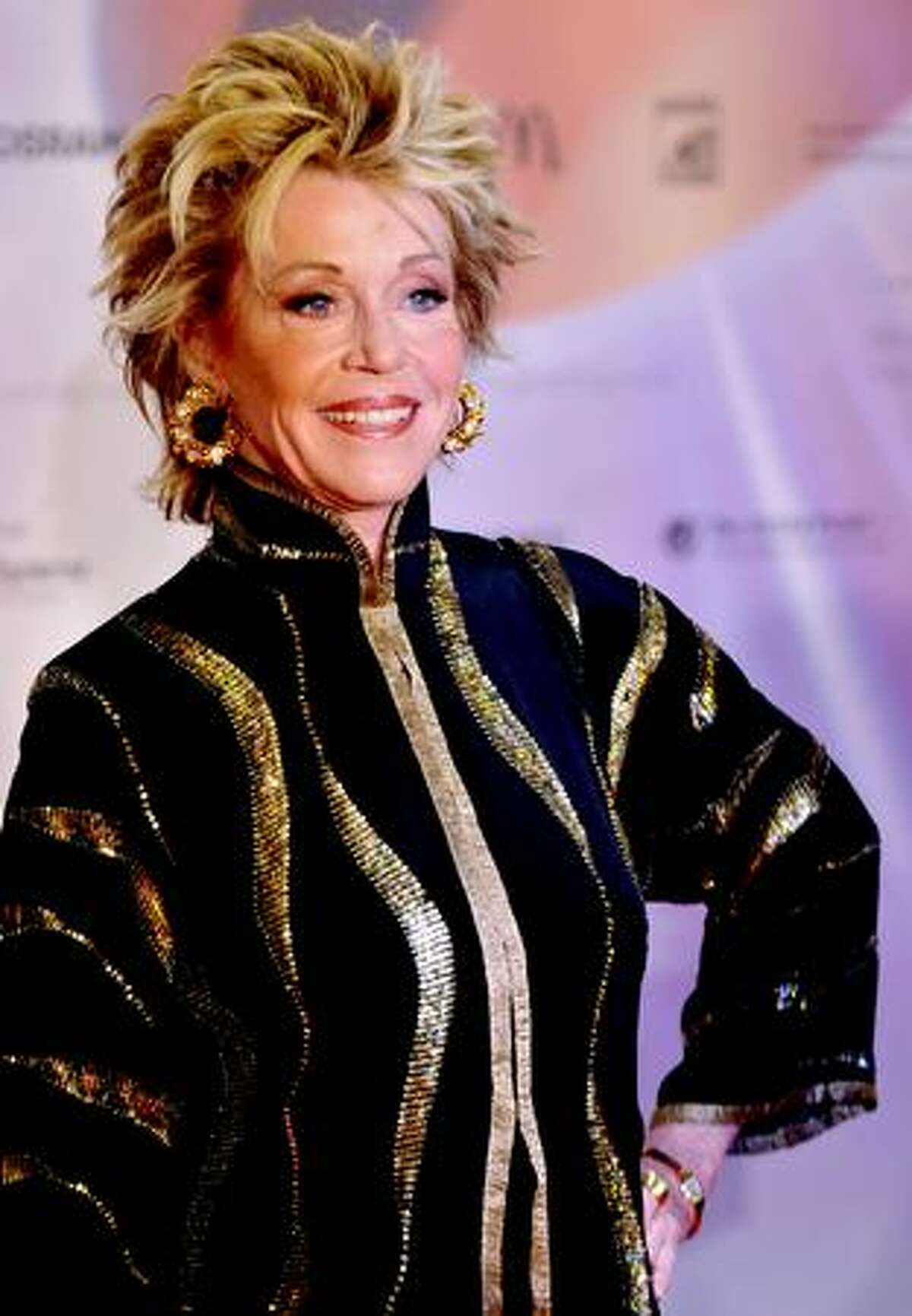 Actress Jane Fonda poses ahead of the German Sustainability Awards in Duesseldorf, western Germany.