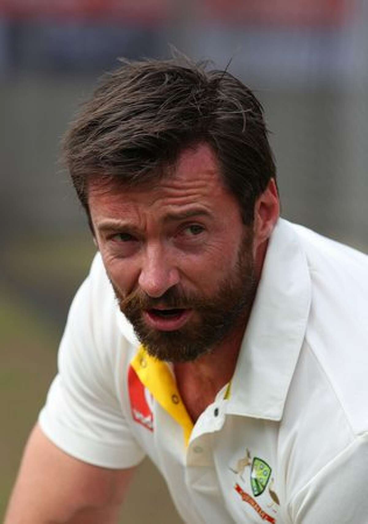 Actor Hugh Jackman looks on after playing cricket in the nets during day one of the Fourth Test match between Australia and England at Melbourne Cricket Ground in Melbourne, Australia.