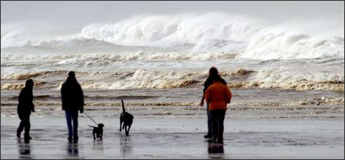 A break in the weather provides an opportunity to check out the pounding, wind-shredded surf at Ocean Shores. Six miles of flat, sandy beach, a bounty of accommodations, a golf course and other tourist amenities make the area a popular vacation destination.