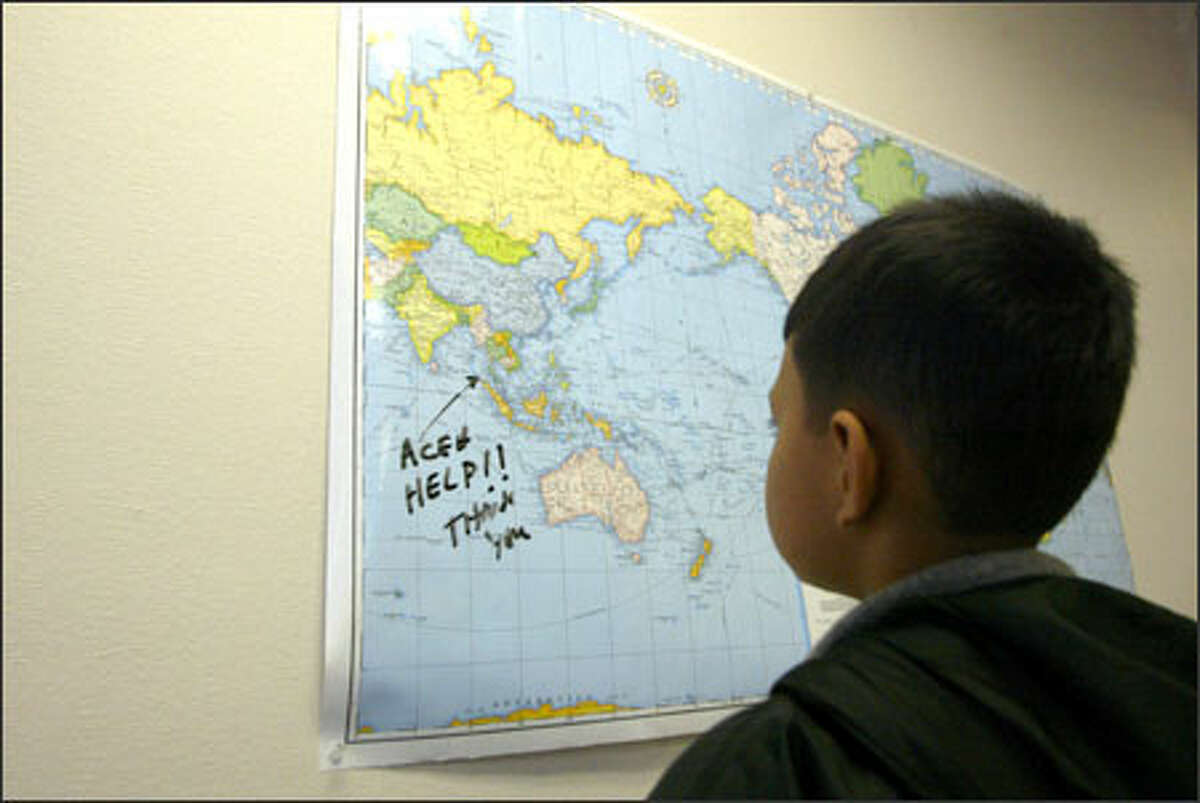 A note in the Tukwila offices of Indonesian aircraft company IPTN spells out the situation back in the homeland quite succinctly for Mochomad Ridwan, 10, born in Indonesia and now living in Everett.
