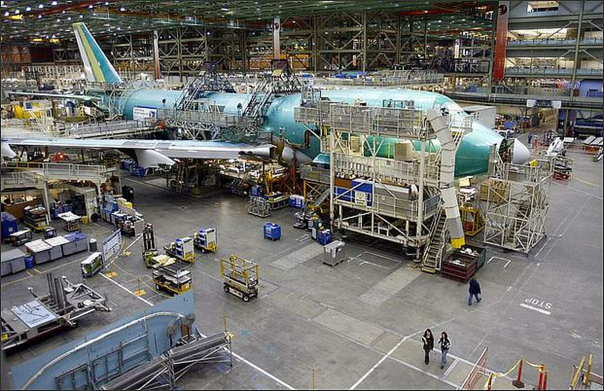 One of the last four Boeing 747's on the assembly line at Boeing s production plant in Everett.