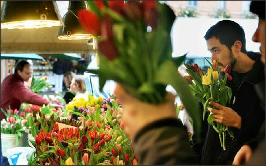 Albert Niemoller, right, of West Seattle picks a Valentine's Day bouquet of tulips for his girlfriend, Catie Zarski, at the Alm Hill Gardens stand at the Pike Place Market. Photo: Dan DeLong, Seattle Post-Intelligencer / Seattle Post-Intelligencer