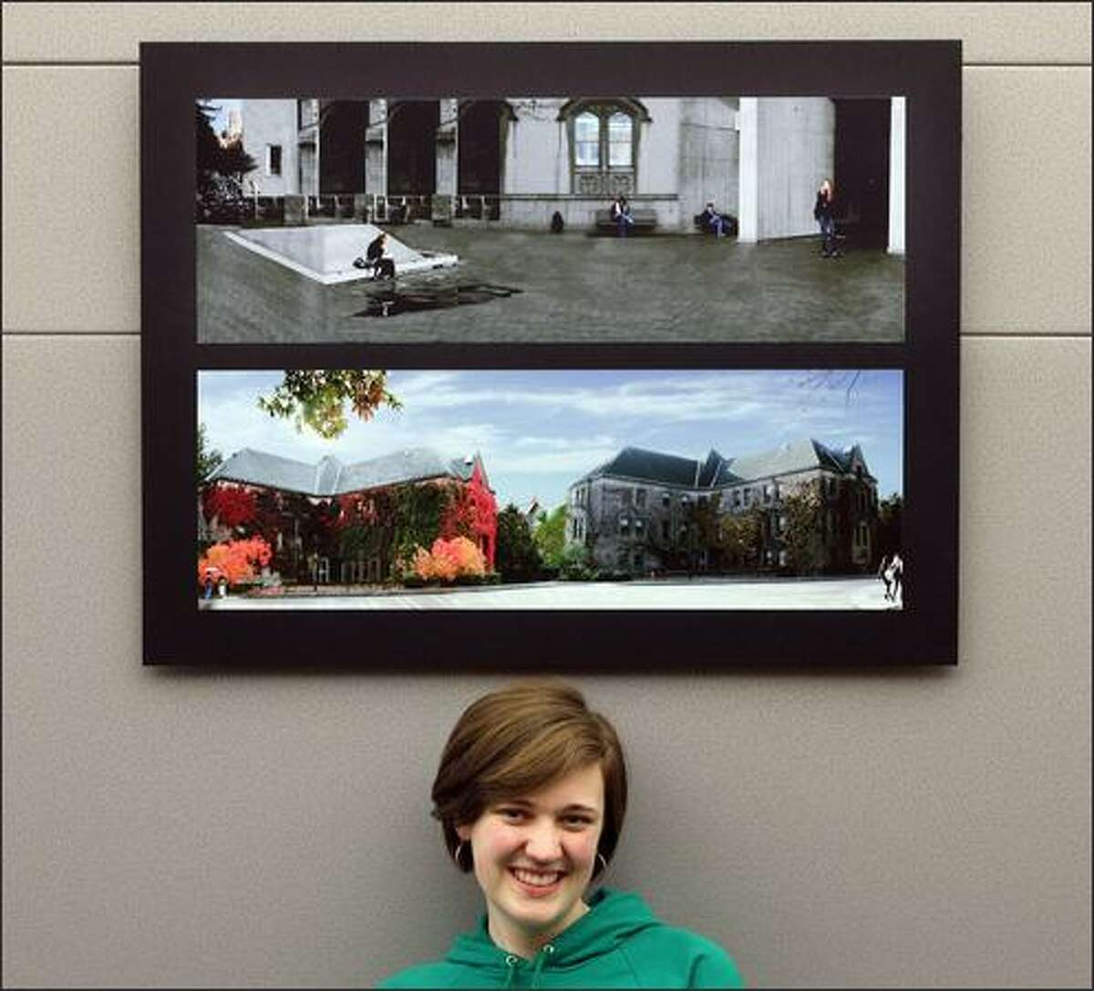 Molly Blank, a University of Washington freshman from Bellevue, Wash., poses with her photographs at UW's Odegaard Undergraduate Library in Seattle. Blank is among a group of freshmen who made photo essays about their first quarter in college.