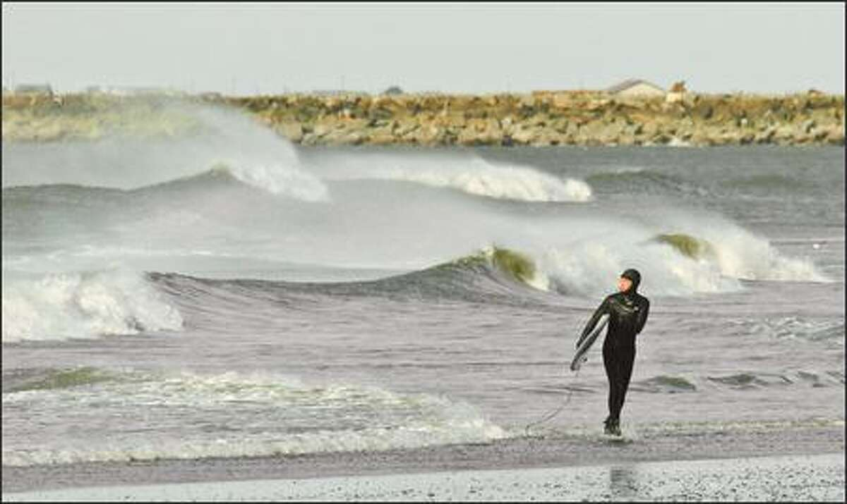 The surf was still up at Westhaven State Park in Westport a week after a major winter storm lashed the coast.