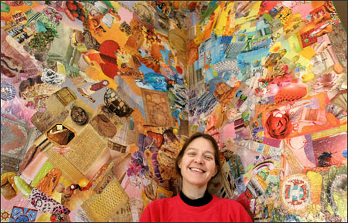 After a brain tumor was removed from the left side of Sandy Allen's brain, she began art therapy sessions that unleashed the artist she never knew existed. She is shown here in her home in front of a wall she collaged using pictures from magazines.