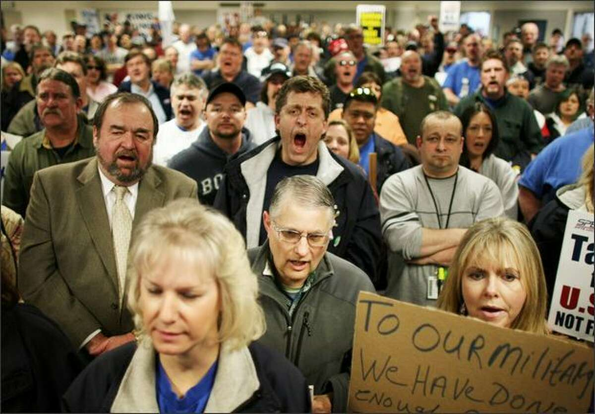 Boeing workers and union members gather at the Machinists Union hall on March 19, 2008 in Everett. Workers and politicians came together to protest the awarding of a U.S. Air Force contract for new aerial refueling tankers to Airbus parent company EADS.
