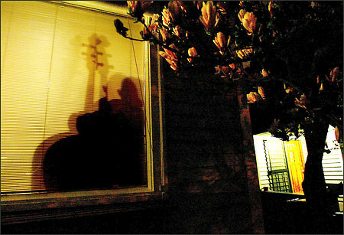 Bass player Jeff Johnson silhouetted in the window of the Wallingford home of Mark and Barbara Hubers-Drake. For 11 years the couple has hosted performances by many prominent Northwest musicians.