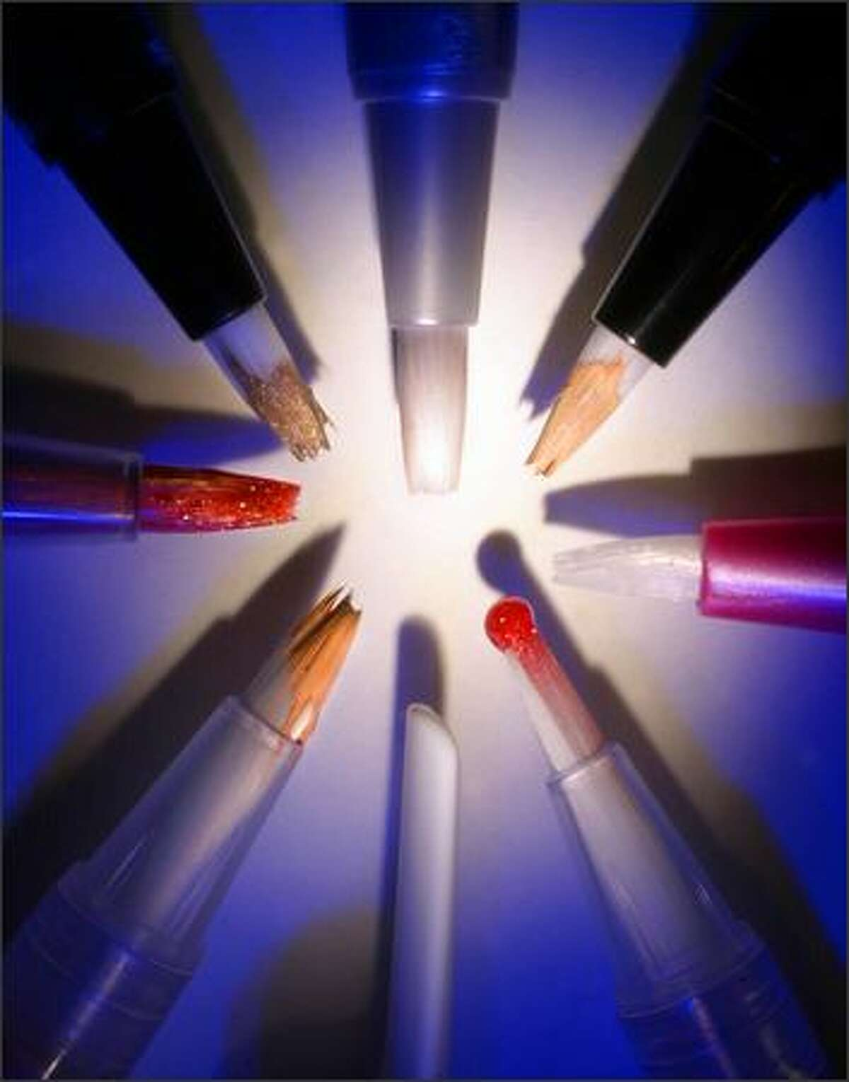 Makeup pens deliver a variety of products, such as eye shadow, lip gloss and concealer.