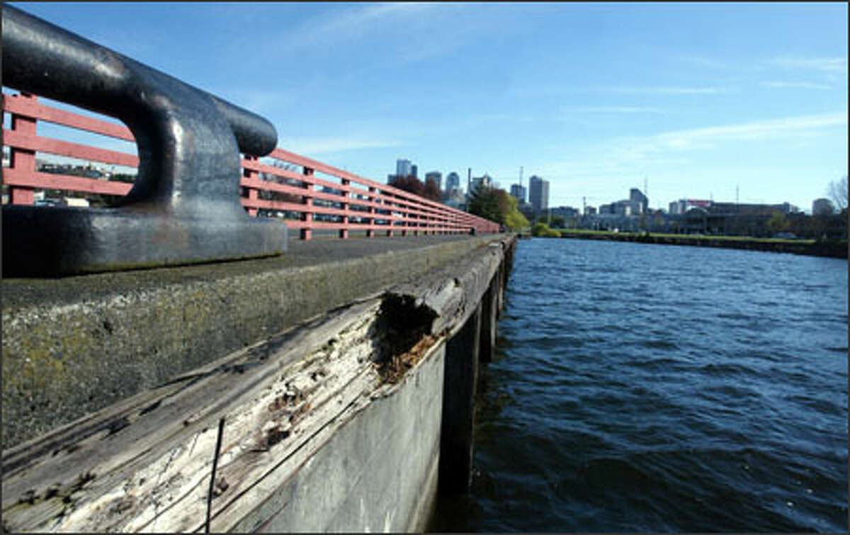 The aging bulkhead at South Lake Union Park will need to be replaced as the city of Seattle moves forward with the new park.